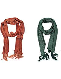 Geroo Women's Synthetic Stole (Red, Green, Free Size) Set Of 2