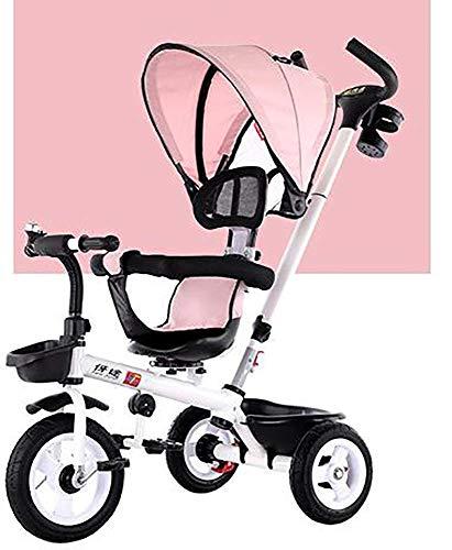 Dreirad Für Kinder, Alter 2 Abnehmbare Überdachung Schiebegriff Drehsitz Lernfahrrad Maximalgewicht 30 (Color : Pink)