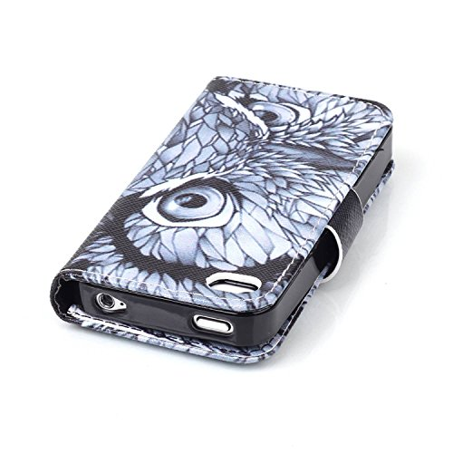 Voguecase® für Apple iPhone 4 4G 4S, Kunstleder Tasche PU Schutzhülle Tasche Leder Brieftasche Hülle Case Cover (My Phone 02) + Gratis Universal Eingabestift Eule Auge