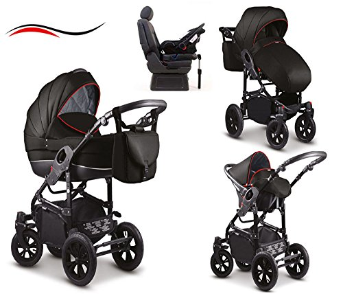 17-teiliges-Qualitts-Kinderwagenset-4-in-1-Mikado-COSMO-Kinderwagen-Buggy-Autokindersitz-Iso-Base-Schwenkrder-Mega-Ausstattung-all-inclusive-Paket-in-Farbe-C-21-SCHWARZ-ROT-STRIPES
