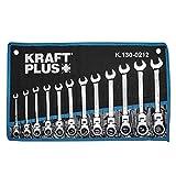 KRAFTPLUS® K.130-0212 - Set di chiavi ad anello a cricchetto, SW 8-19 mm, 12 pezzi