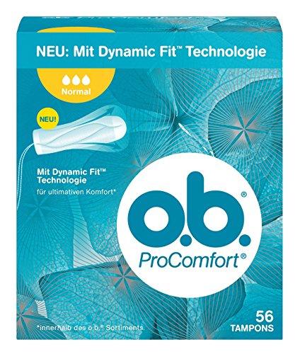 o.b. ProComfort Normal Tampons mit Dynamic Fit™ Technologie und SilkTouch Oberfläche / Für ultimativen Komfort (innerhalb des o.b. Sortiments) und zuverlässigen Schutz / 56er Pack