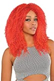 Womens Halloween Gothic Clown Red Crimped Wig Fancy Dress Costume Accessory
