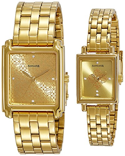 51hcyTuZ2dL - Sonata 70538080YM01 Champagne Couple watch