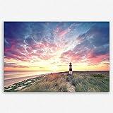 ge Bildet hochwertiges Leinwandbild XXL - Leuchtturm auf Sylt - 120 x 80 cm einteilig | Wanddeko Wandbild Wandbilder Wohnzimmer deko Bild | 2214 T