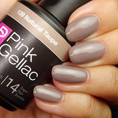Vernis à ongles Pink Gellac 139 Natural Taupe. 15 ml gel Manucure et Nail Art pour UV LED lampe, top coat résistant shellac