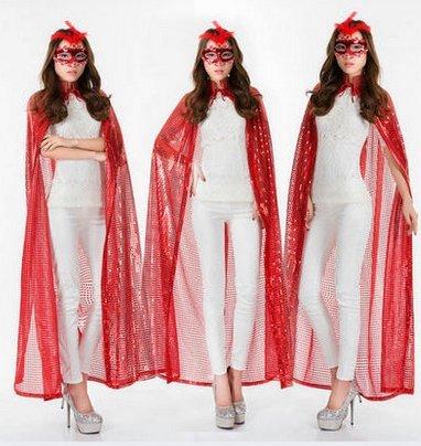 Beauty - bekleidung abend umhang Champions Awards umhang - Bühne - farb - pailletten - umhang göttin kostümen(Rote Pailletten (Todes Göttin Kostüm Des)