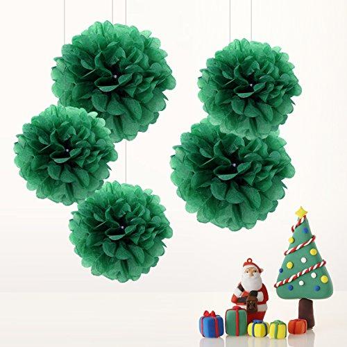 Poms Pompons Rot Weihnachten Grün Set Deko Party Hochzeit Geburtstag Weihnachten Baby Shower Feier Dekoration - 25cm, 35cm (Weihnachten Seidenpapier)
