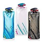 LYLXS 650ML ,Faltbare Wasserflaschen Set von 3 Trinkflasche Flasche Beutel Flexible Zusammenklappbare Flexible...