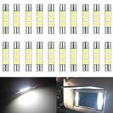 """AMAZENAR 20-Pack 50 Lumens Xenon Blanc 28MM (1.1 """") - 31MM (1.25"""") 12V LED Feston Lumière 5050 3-SMD Pare-soleil Miroir Vanity LED Ampoules pour Véhicule 6615F 6614F 3021 3022 3175 T-2 SF6 / 6"""