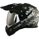 Enduro Helm mit Sonnenblende Broken Head Fullgas Viking matt schwarz incl. silber verspiegeltem Visier - Cross Helm - MX Helm - Quad Helm (S (55-56 cm))