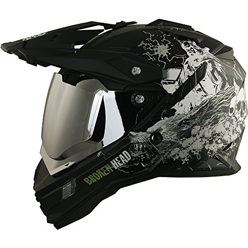 Enduro Helm mit Sonnenblende Broken Head Fullgas Viking matt schwarz incl. silber verspiegeltem Visier - Cross Helm - MX Helm - Quad Helm (XXL (62-63 cm))