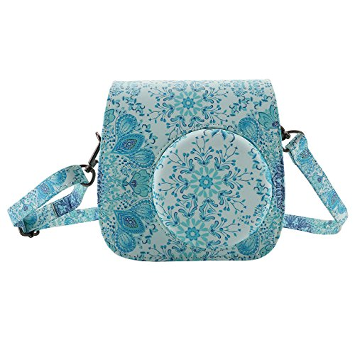 Mogoko Fujifilm Instax Mini 8 Mini 9 Tasche Reise Kameratasche Gehäuse Taschen mit Schultergurt/Weinlese aus PU Leder für Fotografie-Enthusiasten (Pfau)