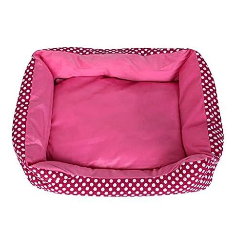 Panier Chien/chat Angelof Grand/Dans/Petit Rectangle Panier Pour Chien Lavable Dot Pet Dog Cat Bed House Chenil Doggy Warm Coussin Panier (S, Rose chaud)