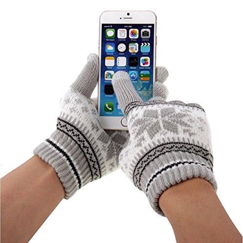 wortek Touchscreen Handschuhe mit Flockenmuster in Grau in der Größe M - L für alle Handys, Smartphones und Tablets