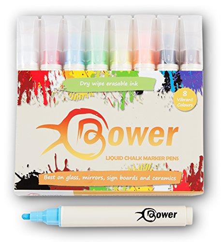 Bower Liquid Chalk Marker Stifte–8leuchtenden Farben Trocken abwischbar für Glas, Tafel Etiketten, Whiteboards und Spiegel Schreiben. Abwaschbar nicht permanent marker (Fleck Kreide Farbe)