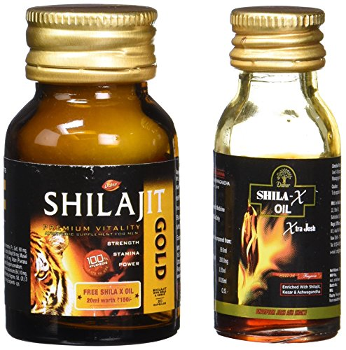 Dabur Shilajit Gold - 20 Capsules with Free Shila X Oil - 20 ml Worth Rupees 150