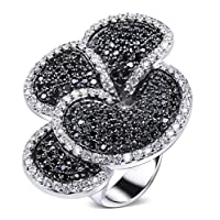 Trendy 4 Petals Flower Black and white Ring Cubic Zirconia