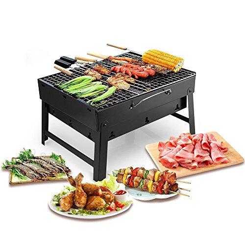 Barbacoa Portátil de Acero Inoxidable BBQ de Carbón con Rejilla Portátil Plegable Mini Barbecue de Exteriores (3 - 5 Personas)