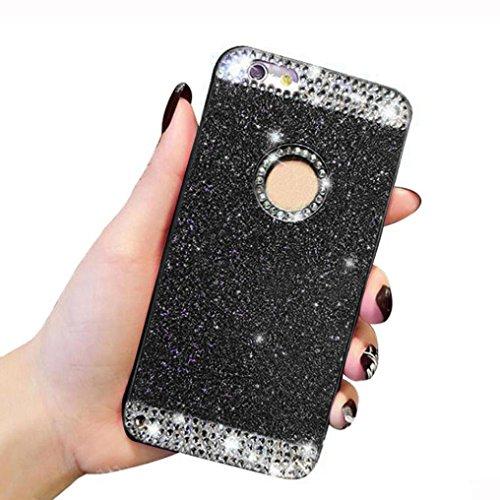 For iPhone 6 Plus / 6S Plus Hülle, Ouneed Bling Glitzer Funkeln Voll Körper Sticker Vorder- und Rückseite Film Protektor Haut für iphone 6 plus 5.5 Inch (Schwarz) Schwarz