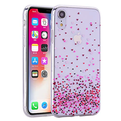 Everainy iPhone XS MAX Silikon Hülle Durchsichtig Muster Ultradünn Handyhülle Stoßstange Case Cover für iPhone XS MAX Gummi Hüllen Stoßfest Transparent (Liebe) - Liebe Cover