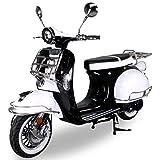 Znen Retro Star Motorroller ZN50QT-27 50cc 25/45km/h Retro Roller Motor Roller Motorrad Sportroller (Schwarz/Weiß 25km/h)