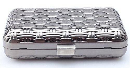 Good Night guscio in metallo modello tessuto Il sacchetto di sera Bag Custodia rigida frizione Nero