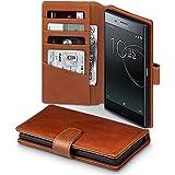 Xperia XZ Premium Case, Terrapin [ECHT LEDER] Brieftasche Case Hülle mit Standfunktion Kartenfächer und Bargeld für Sony Xperia XZ Premium Hülle Cognac