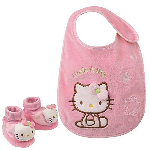 Hello Kitty Babyset Hausschuhe + Lätzchen Geschenkset Babyschuhe Babylätzchen