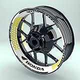 OneWheel Felgenrandaufkleber Motorrad 4er Komplett-Set (17 Zoll) - Felgenaufkleber Honda Hexagon (Gelb - glänzend)