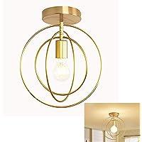 Abat-Jour de Plafonnier Cercle E27 Lustre Fer Rétro Industrielle en Métal Anneaux Lampe Suspension Luminaire LED Antique…