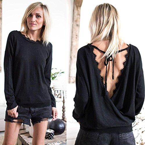 Coloré TM Femme Sexy Sweater Col V Croisé Dos Nu en Cotton Pull Automne Hiver Noir