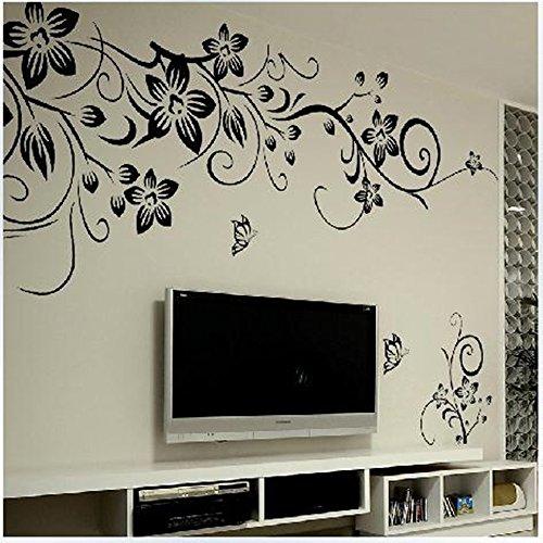 Wandaufkleber Wandtattoo Wandsticker wallsticker weiße schwarze Blumen WAG-019