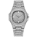 Bling Hip Hop Iced Out Uhr Luxus Stil Simulierte Diamanten Metal Band Clubbing Rapper Uhr für Damen Herren