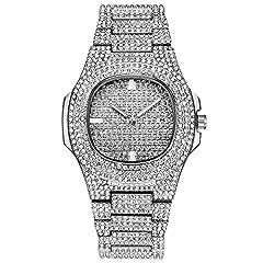 Idea Regalo - Tutti gli orologi di diamanti per gli uomini Bling-ed Out rotonda Mens Luxury Watch con bracciali Hip Hop con cinturino in blister