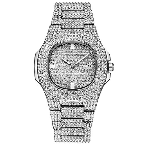 Bling-ed Out Oblong Quarz-Herrenuhr, Hip-Hop-Uhr Simulated Lab Diamonds - Techno Uhr Bling