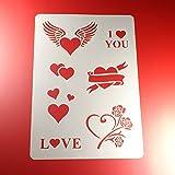 Schablone Herzen 7 Herz Motive Liebe Love - BO07