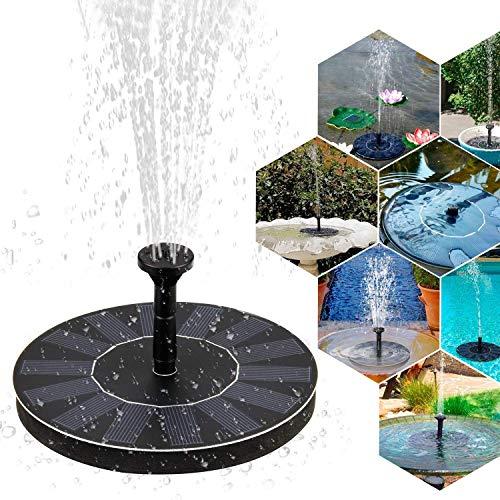 Yhomie Bomba de Fuente Solar Flotante de energía Solar 1.4W Vatios con Batería incorporada, con 4 boquillas, Para Pequeño Estanque Fish Tank Decoración del Jardín