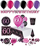Feste Feiern Geburtstagsdeko Zum 60 Geburtstag | 47 Teile All In One Set Luftballons Becher Konfetti Pink Schwarz Violett Party Deko Happy Birthday