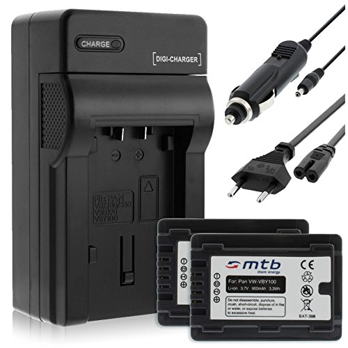 2 Batterie + Caricabatteria (Auto/Corrente) per Panasonic VW-VBY100 / HC-V10, V110... vedi lista!