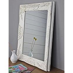 Espejo blanco envejecido 62 x 52 cm madera espejo diseño rústico