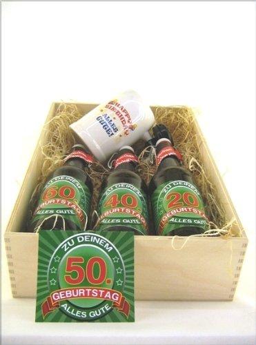 Bier Präsentkiste gef. mit 3 Fl. Bier und 1 Bierkrug a' 0,5 ltr Flasche zum 50. Geburtstag