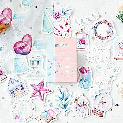 QTHZL Aufkleber 46 Teile / Schachtel Weihnachten Blumen Memo Aufkleber Pack Planer Dekoration Tagebuch Klebepapier Scrapbooking Aufkleber Schreibwaren -