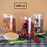Rudra Villa - 1000ml Glass Food Storage Containers Set,Airtight Food Jars with Bamboo Wooden Lids - Set of 3 Kitchen Canisters for Sugar,Candy, Cookie, Rice and Spice Jars
