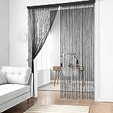 Taiyuhomes klassische Spaghetti-Vorhänge als Dekoration oder Trennwand mit dekorativem Streifen-Design, schwarz, 90x245cm(35x96