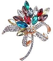 FENGJI Flower Crystal Bouquet Brooches for Women Coat Wedding Decoration Rhinestone Brooch Pin Multicolor