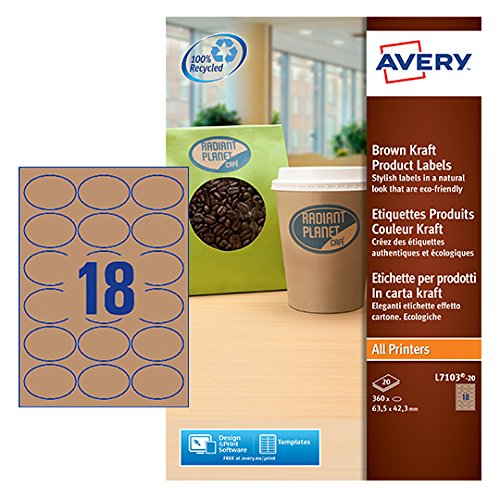 Avery-etiketten-oval (Avery L7103-20 Ovale Etiketten Papier 63,5x42,3mm 360Stück naturbraun)
