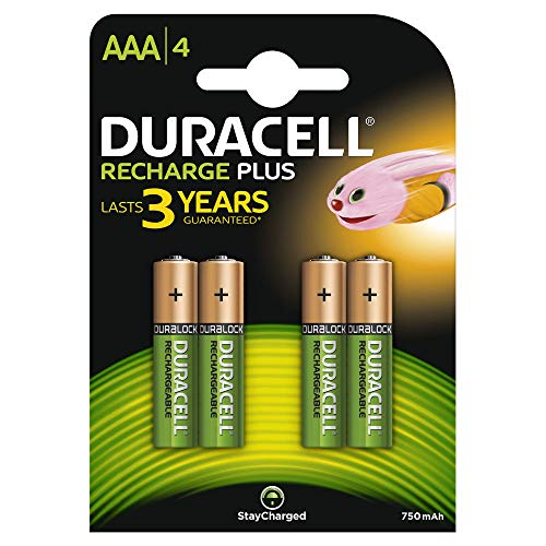 Duracell AAA 750mAh Rechargeable Batteries - Pack of 4