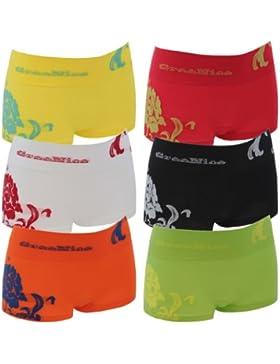 6er Pack Damen Pantys in 6 Farben und 2 Größen mit Blumenmotiv