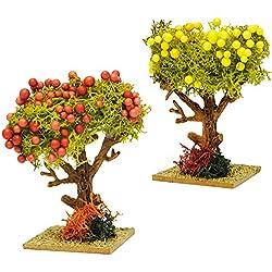 Unbekannt 1 Baum mit bunten Früchten - Granatapfel / Zitronenbaum - Miniatur - 8,5 cm - Miniatur / Maßstab 1:12 - Baum Apfel - für Puppenstube / Puppenhaus u. Eisenbahn..